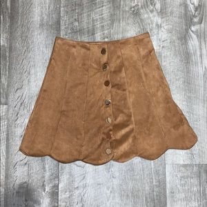 Velvet Tan Mini Skirt